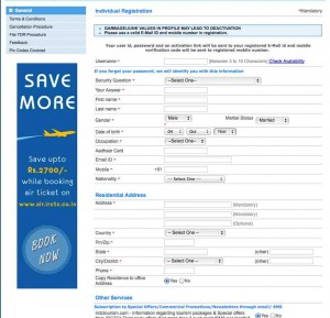 IRCTC New Registration Form