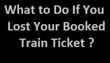 Train Ticket Lost What to Do