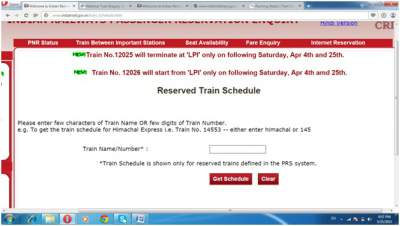 Check Train Schedule Indian Railways