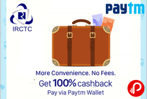 Paytm IRCTC Offer Today – 100% Cachback on Convenience Fee