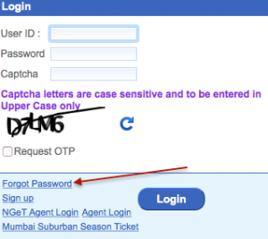 Click on IRCTC Forgot Password Link
