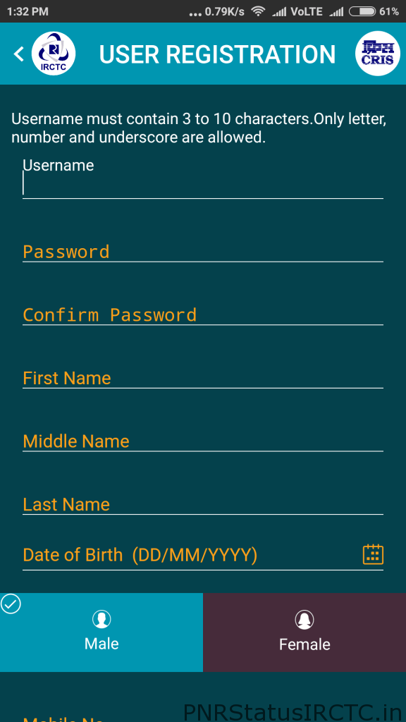 IRCTC Registration In IRCTC Connect App
