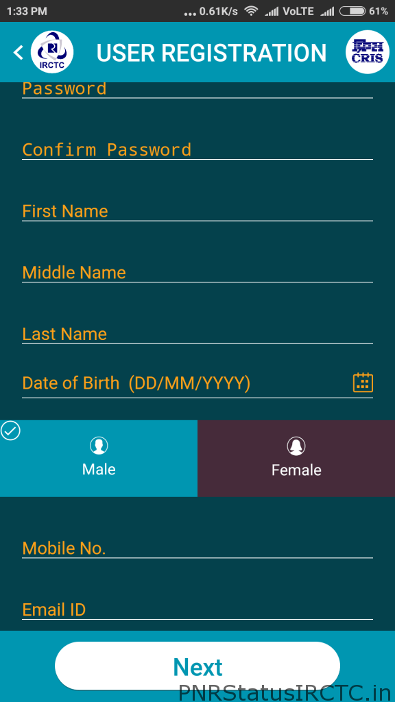 IRCTC Registration Through Mobile