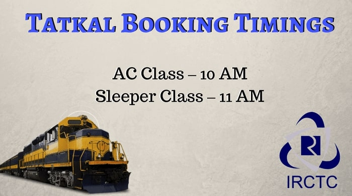 Tatkal Ticket Booking Time