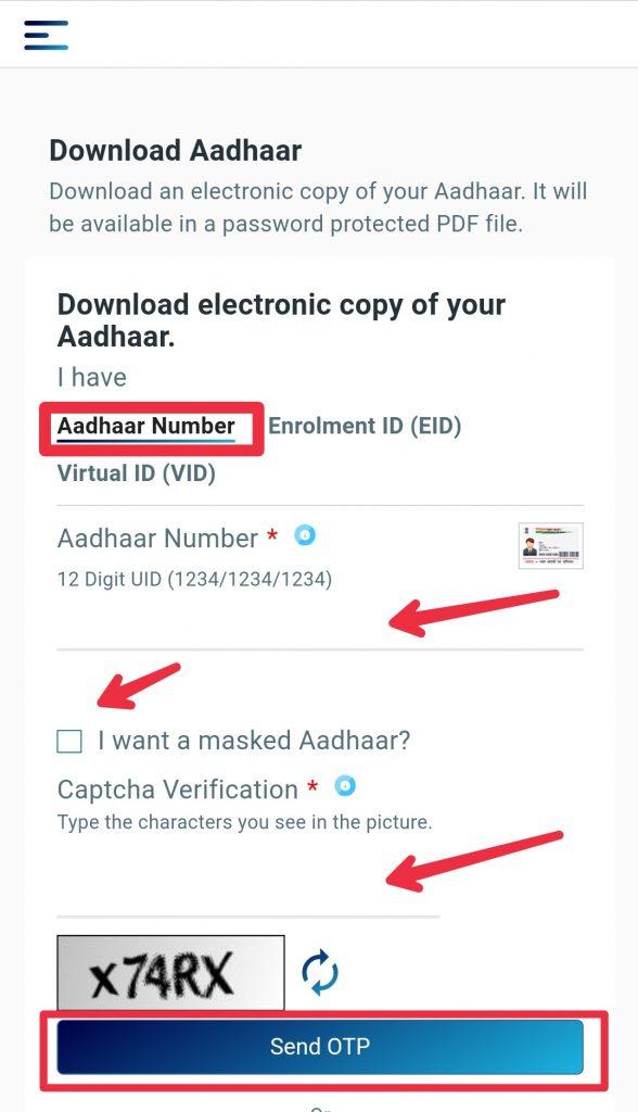 aadhaar number se aadhaar card download kaise kare