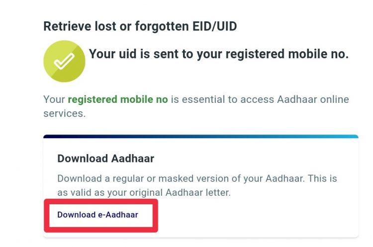 aadhar card number link